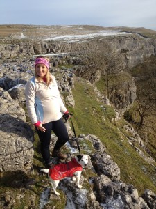 Gem, bump and Mario on the limestone pavement, overlooking Malham Cove